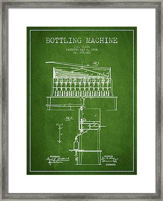 1884 Bottling Machine Patent - Green Framed Print by Aged Pixel