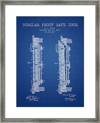 1885 Bank Safe Door Patent - Blueprint Framed Print by Aged Pixel