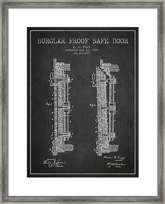 1885 Bank Safe Door Patent - Charcoal Framed Print by Aged Pixel