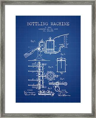 1885 Bottling Machine Patent - Blueprint Framed Print by Aged Pixel