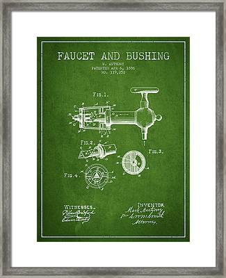 1886 Faucet And Bushing Patent - Green Framed Print by Aged Pixel