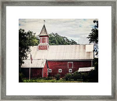 1886 Red Barn Framed Print by Lisa Russo