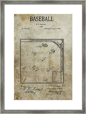 1887 Baseball Game Patent Framed Print by Dan Sproul