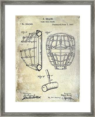 1887 Baseball Mask Patent Framed Print by Jon Neidert