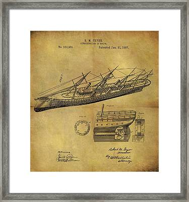 1887 Ship Patent Framed Print by Dan Sproul