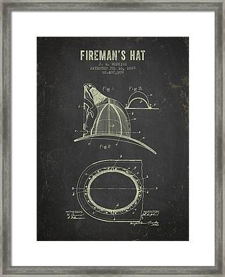 1889 Firemans Hat Patent - Dark Grunge Framed Print by Aged Pixel