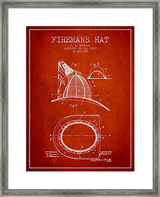 1889 Firemans Hat Patent - Red Framed Print by Aged Pixel