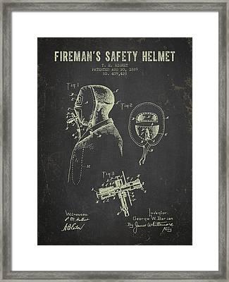 1889 Firemans Safety Helmet Patent - Dark Grunge Framed Print by Aged Pixel