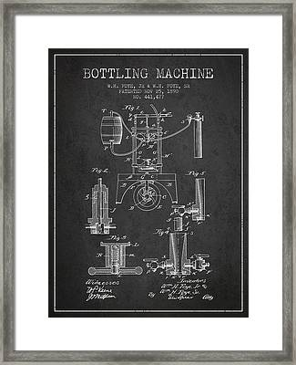 1890 Bottling Machine Patent - Charcoal Framed Print by Aged Pixel