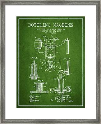 1890 Bottling Machine Patent - Green Framed Print by Aged Pixel