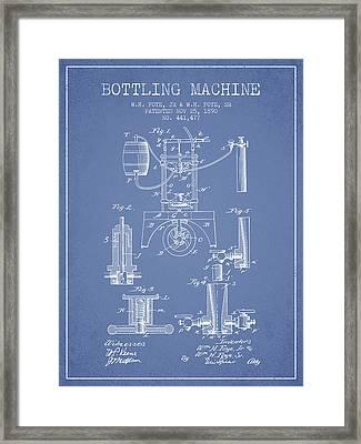 1890 Bottling Machine Patent - Light Blue Framed Print by Aged Pixel