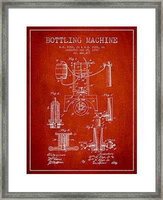 1890 Bottling Machine Patent - Red Framed Print by Aged Pixel