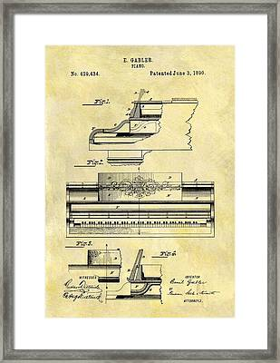 1890 Piano Patent Framed Print by Dan Sproul