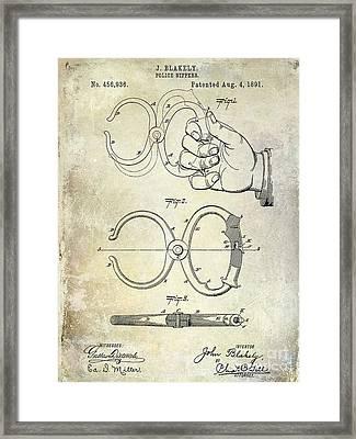 1891 Handcuff Patent Framed Print by Jon Neidert