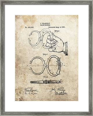 1891 Handcuffs Patent Framed Print by Dan Sproul