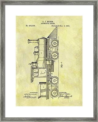 1891 Locomotive Patent Framed Print by Dan Sproul