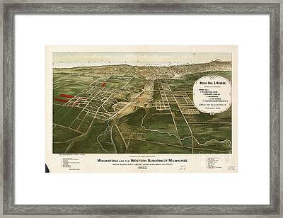 1892 Aerial Map Of Wauwatosa Wisconsin Framed Print by Celestial Images