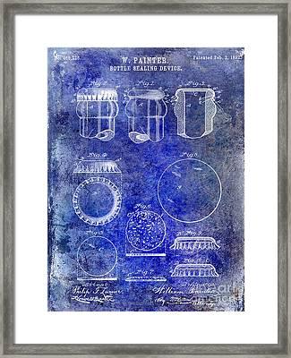 1892 Bottle Cap Patent Blue Framed Print by Jon Neidert