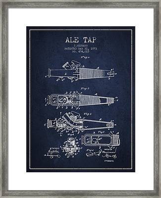 1893 Ale Tap Patent - Navy Blue Framed Print by Aged Pixel
