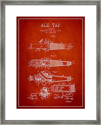 1893 Ale Tap Patent - Red Framed Print by Aged Pixel