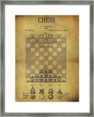 1893 Chess Game Patent Framed Print by Dan Sproul