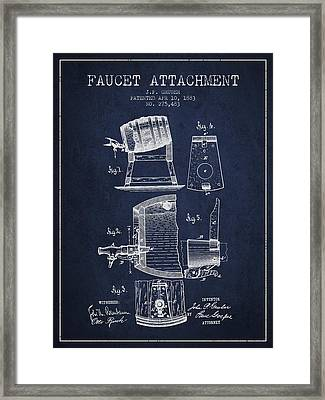 1893 Faucet Attachment Patent - Navy Blue Framed Print by Aged Pixel