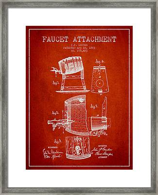 1893 Faucet Attachment Patent - Red Framed Print by Aged Pixel