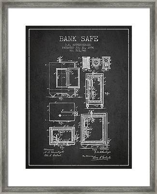 1894 Bank Safe Patent - Charcoal Framed Print by Aged Pixel