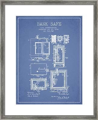 1894 Bank Safe Patent -light Blue Framed Print by Aged Pixel