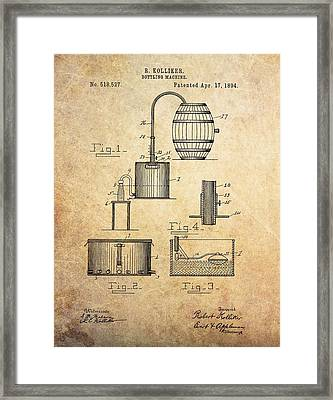 1894 Bottling Machine Patent Framed Print by Dan Sproul