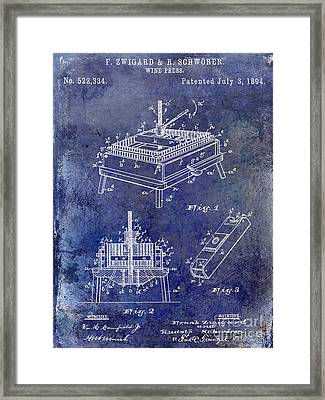 1894 Wine Press Patent Blue Framed Print by Jon Neidert