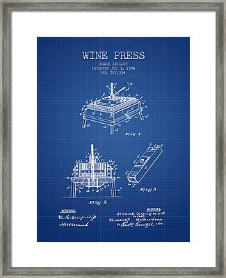 1894 Wine Press Patent - Blueprint Framed Print by Aged Pixel