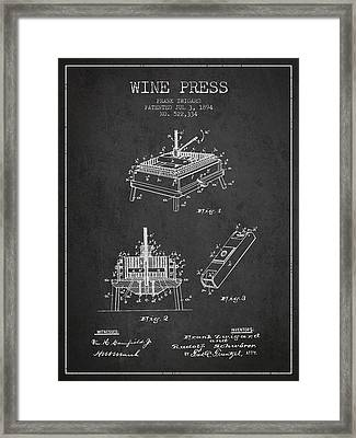 1894 Wine Press Patent - Charcoal Framed Print by Aged Pixel