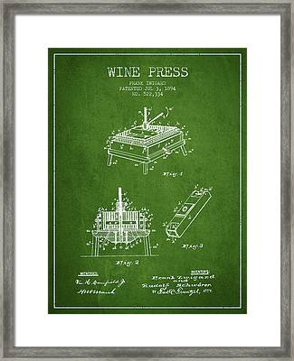 1894 Wine Press Patent - Green Framed Print by Aged Pixel