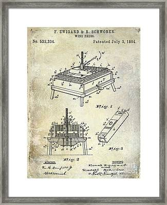 1894 Wine Press Patent Framed Print by Jon Neidert