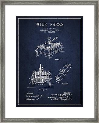 1894 Wine Press Patent - Navy Blue Framed Print by Aged Pixel