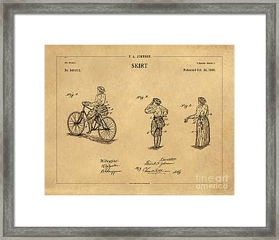 1895 Convertible Bicycle Skirt Patent 1 Framed Print by Nishanth Gopinathan