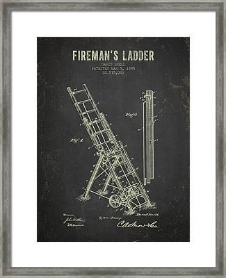 1895 Firemans Ladder Patent - Dark Grunge Framed Print by Aged Pixel