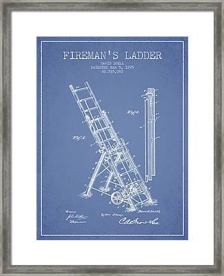 1895 Firemans Ladder Patent - Light Blue Framed Print by Aged Pixel