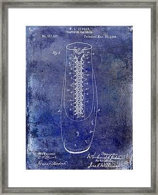 1896 Shoe Patent Blue Framed Print by Jon Neidert