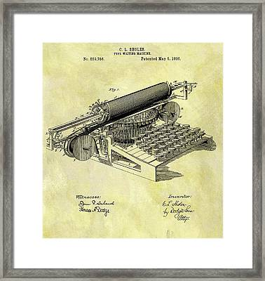 1896 Typewriter Patent Framed Print by Dan Sproul