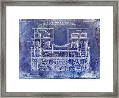 1897 Beer Brewering Patent Blue Framed Print by Jon Neidert