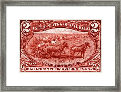 1898 Farming In The West Stamp Framed Print by Historic Image