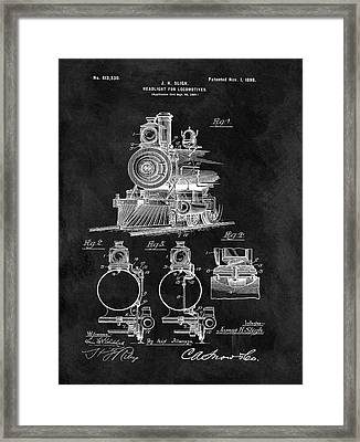 1898 Locomotive Headlight Patent Framed Print by Dan Sproul