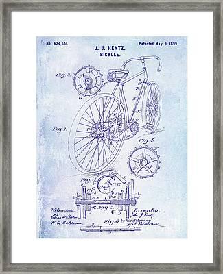 1899 Bicycle Patent Blueprint Framed Print by Jon Neidert