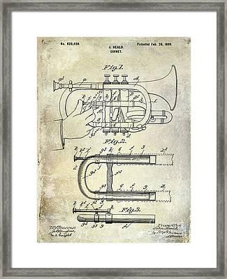 1899 Cornet Patent Framed Print by Jon Neidert