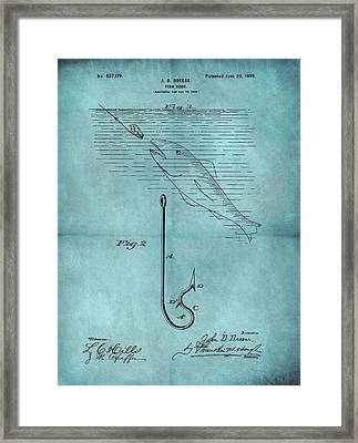 1899 Fishing Hook Patent Blue Framed Print by Dan Sproul