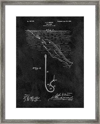 1899 Fishing Hook Patent Framed Print by Dan Sproul