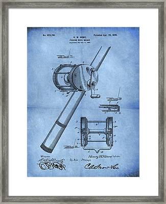 1899 Fishing Reel Patent Blue Framed Print by Dan Sproul