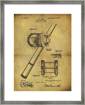 1899 Fishing Reel Patent Framed Print by Dan Sproul